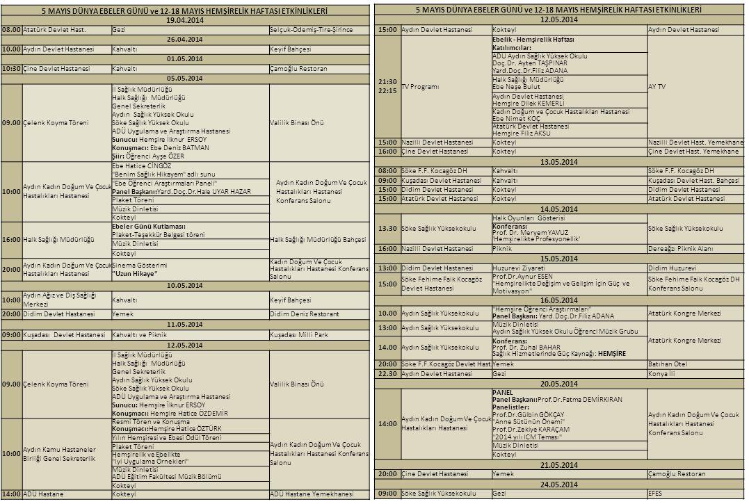5 MAYIS DÜNYA EBELER GÜNÜ ve 12-18 MAYIS HEMŞİRELİK HAFTASI ETKİNLİKLERİ 19.04.2014 08.00Atatürk Devlet Hast.GeziSelçuk-Ödemiş-Tire-Şirince 26.04.2014