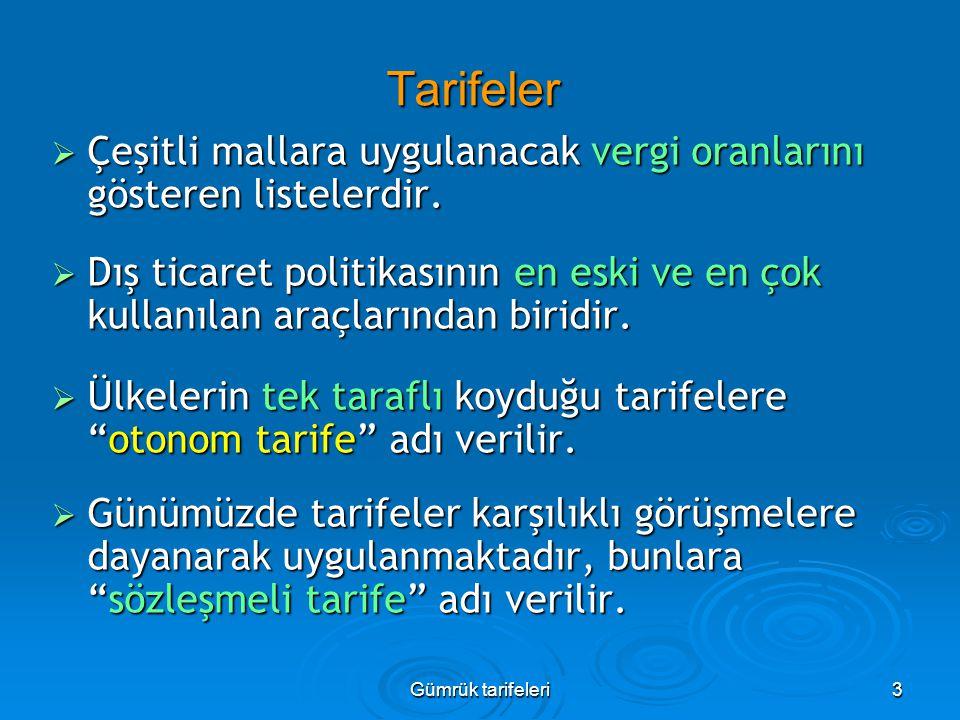 Gümrük tarifeleri3 Tarifeler  Çeşitli mallara uygulanacak vergi oranlarını gösteren listelerdir.  Dış ticaret politikasının en eski ve en çok kullan