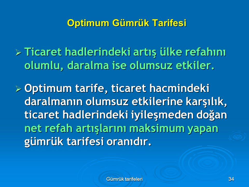 Gümrük tarifeleri34 Optimum Gümrük Tarifesi  Ticaret hadlerindeki artış ülke refahını olumlu, daralma ise olumsuz etkiler.  Optimum tarife, ticaret
