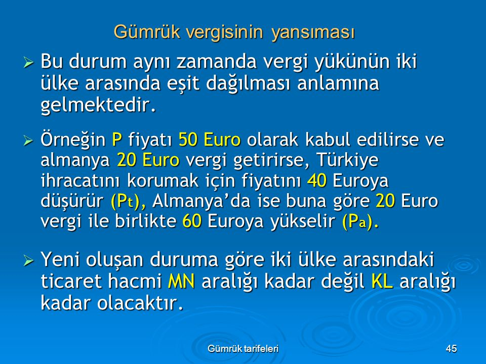 Gümrük tarifeleri45  Bu durum aynı zamanda vergi yükünün iki ülke arasında eşit dağılması anlamına gelmektedir.  Örneğin P fiyatı 50 Euro olarak kab