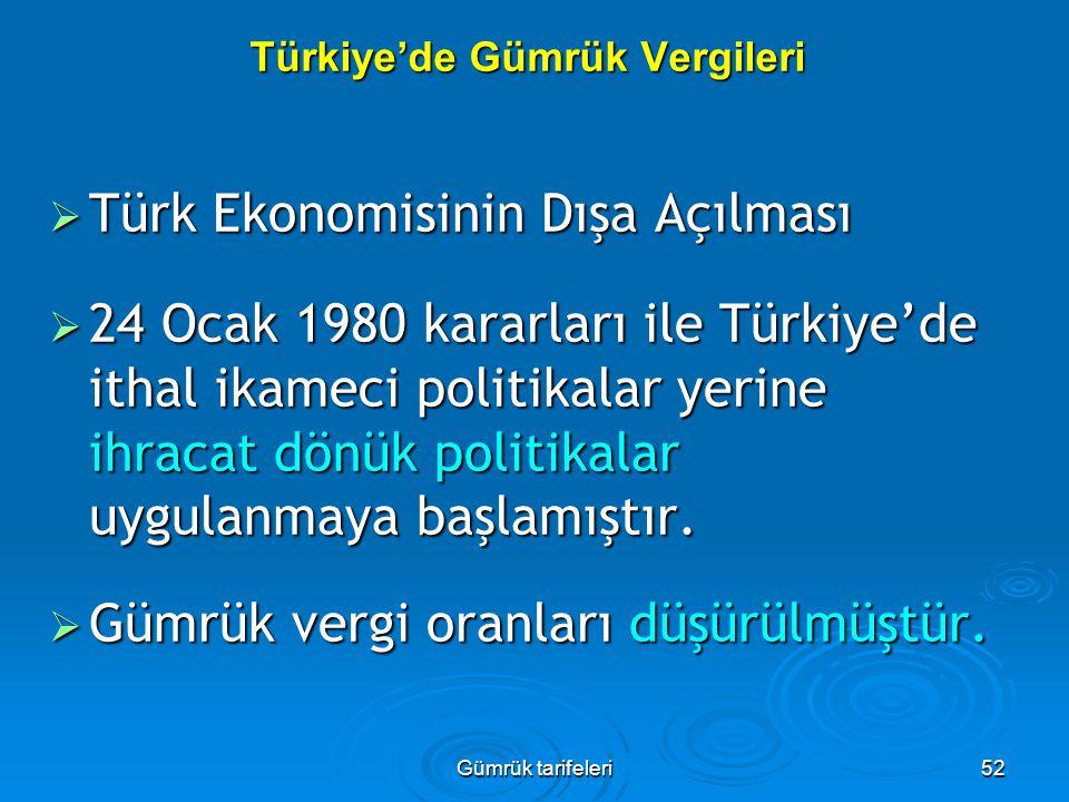 Gümrük tarifeleri52 Türkiye'de Gümrük Vergileri  Türk Ekonomisinin Dışa Açılması  24 Ocak 1980 kararları ile Türkiye'de ithal ikameci politikalar ye