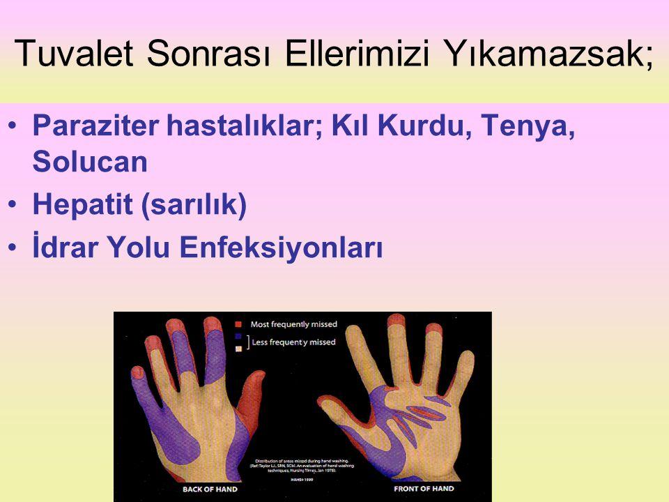 Tuvalet Sonrası Ellerimizi Yıkamazsak; Paraziter hastalıklar; Kıl Kurdu, Tenya, Solucan Hepatit (sarılık) İdrar Yolu Enfeksiyonları