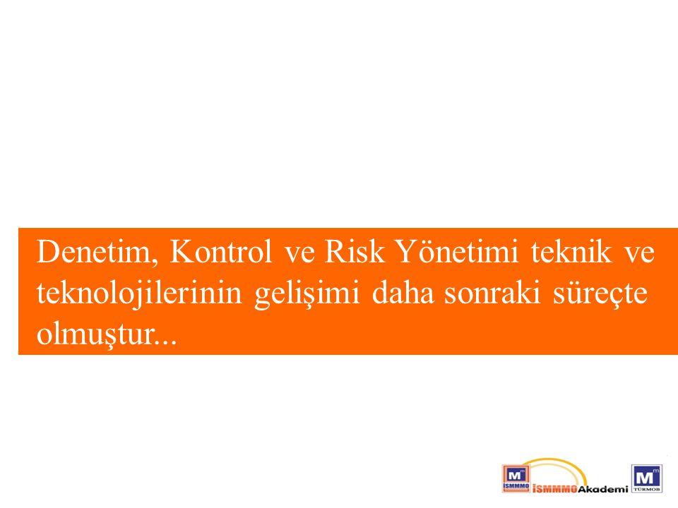 Denetim, Kontrol ve Risk Yönetimi teknik ve teknolojilerinin gelişimi daha sonraki süreçte olmuştur...