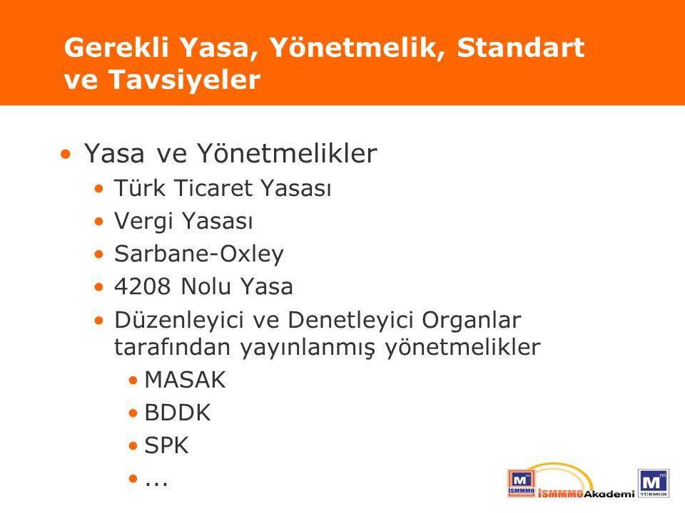 Gerekli Yasa, Yönetmelik, Standart ve Tavsiyeler Yasa ve Yönetmelikler Türk Ticaret Yasası Vergi Yasası Sarbane-Oxley 4208 Nolu Yasa Düzenleyici ve De