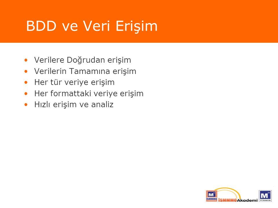 BDD ve Veri Erişim Verilere Doğrudan erişim Verilerin Tamamına erişim Her tür veriye erişim Her formattaki veriye erişim Hızlı erişim ve analiz