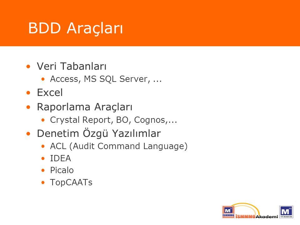 BDD Araçları Veri Tabanları Access, MS SQL Server,... Excel Raporlama Araçları Crystal Report, BO, Cognos,... Denetim Özgü Yazılımlar ACL (Audit Comma