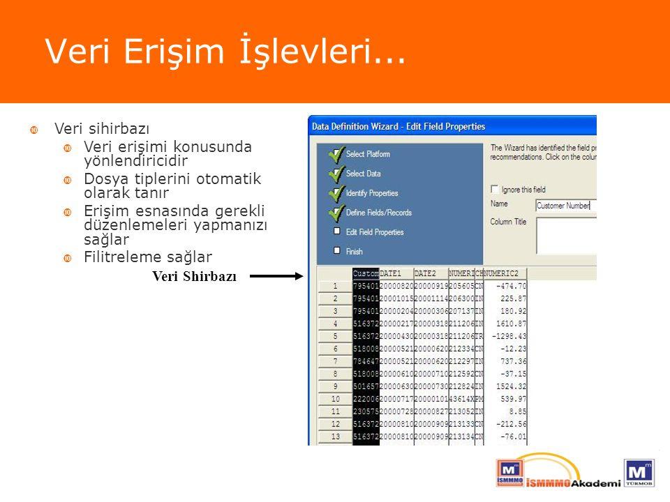 Veri Erişim İşlevleri... Veri Shirbazı  Veri sihirbazı  Veri erişimi konusunda yönlendiricidir  Dosya tiplerini otomatik olarak tanır  Erişim esna
