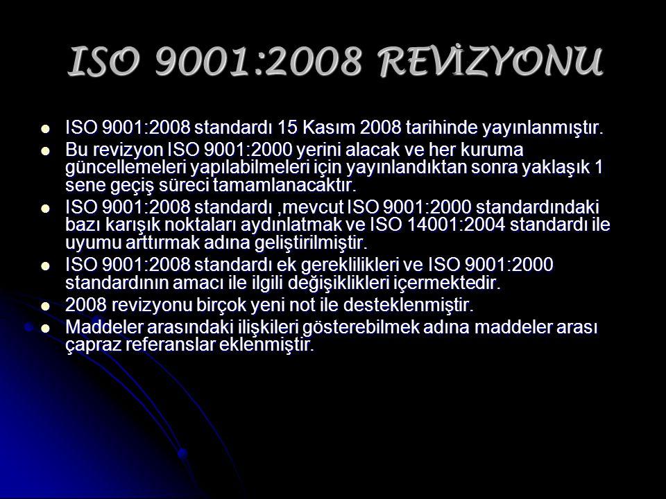 ISO 9001:2008 REV İ ZYONU ISO 9001:2008 standardı 15 Kasım 2008 tarihinde yayınlanmıştır. ISO 9001:2008 standardı 15 Kasım 2008 tarihinde yayınlanmışt