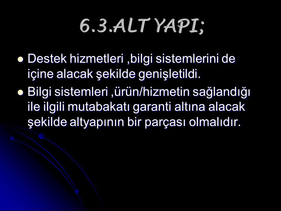 6.3.ALT YAPI; Destek hizmetleri,bilgi sistemlerini de içine alacak şekilde genişletildi. Destek hizmetleri,bilgi sistemlerini de içine alacak şekilde