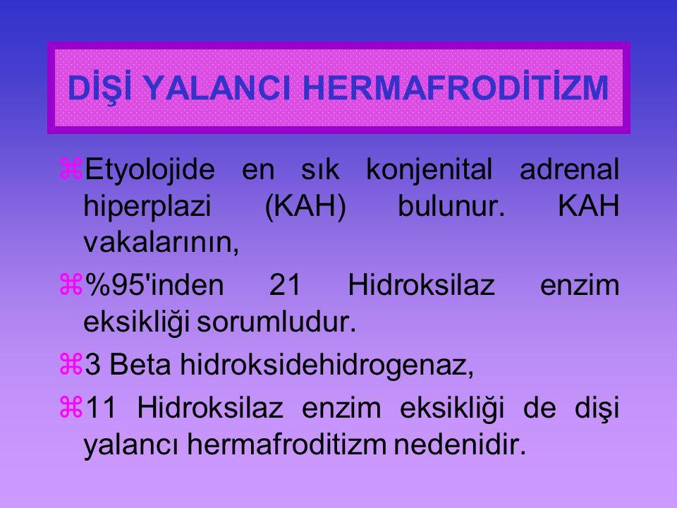  Etyolojide en sık konjenital adrenal hiperplazi (KAH) bulunur. KAH vakalarının,  %95'inden 21 Hidroksilaz enzim eksikliği sorumludur.  3 Beta hidr
