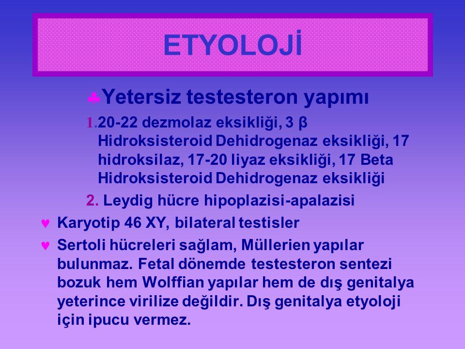 ETYOLOJİ  Yetersiz testesteron yapımı 1. 20-22 dezmolaz eksikliği, 3 β Hidroksisteroid Dehidrogenaz eksikliği, 17 hidroksilaz, 17-20 liyaz eksikliği,