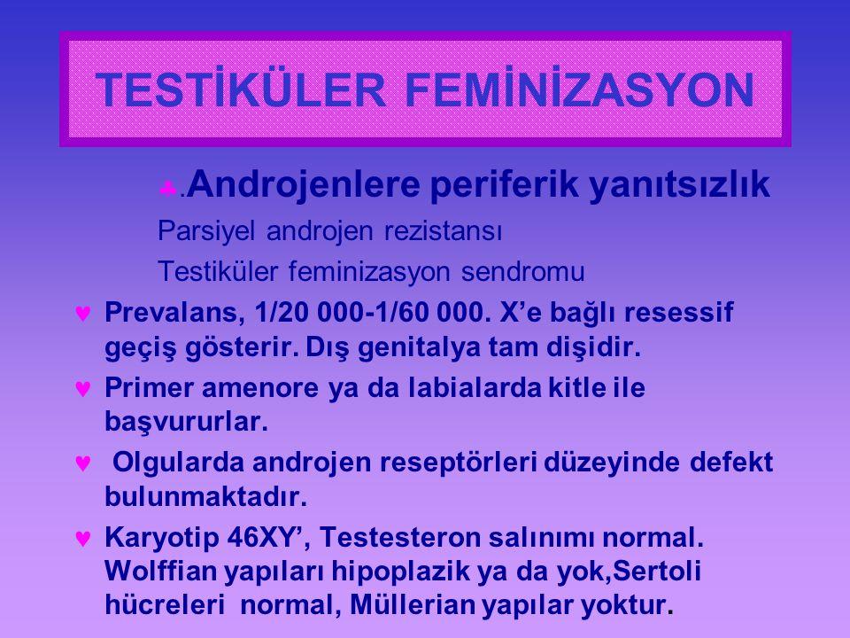 . Androjenlere periferik yanıtsızlık Parsiyel androjen rezistansı Testiküler feminizasyon sendromu Prevalans, 1/20 000-1/60 000. X'e bağlı resessif g