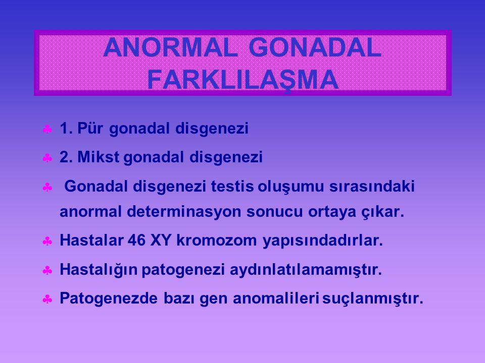  1. Pür gonadal disgenezi  2. Mikst gonadal disgenezi  Gonadal disgenezi testis oluşumu sırasındaki anormal determinasyon sonucu ortaya çıkar.  Ha