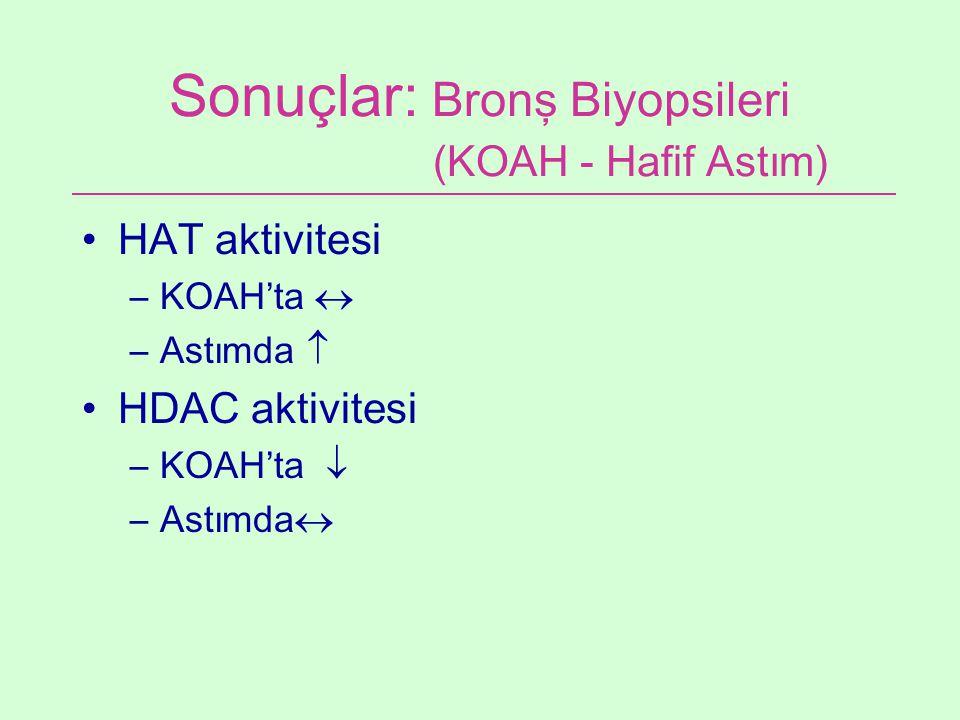 Sonuçlar: Bronş Biyopsileri (KOAH - Hafif Astım) HAT aktivitesi –KOAH'ta  –Astımda  HDAC aktivitesi –KOAH'ta  –Astımda 
