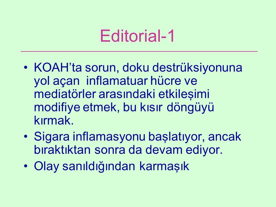 Editorial-1 KOAH'ta sorun, doku destrüksiyonuna yol açan inflamatuar hücre ve mediatörler arasındaki etkileşimi modifiye etmek, bu kısır döngüyü kırma