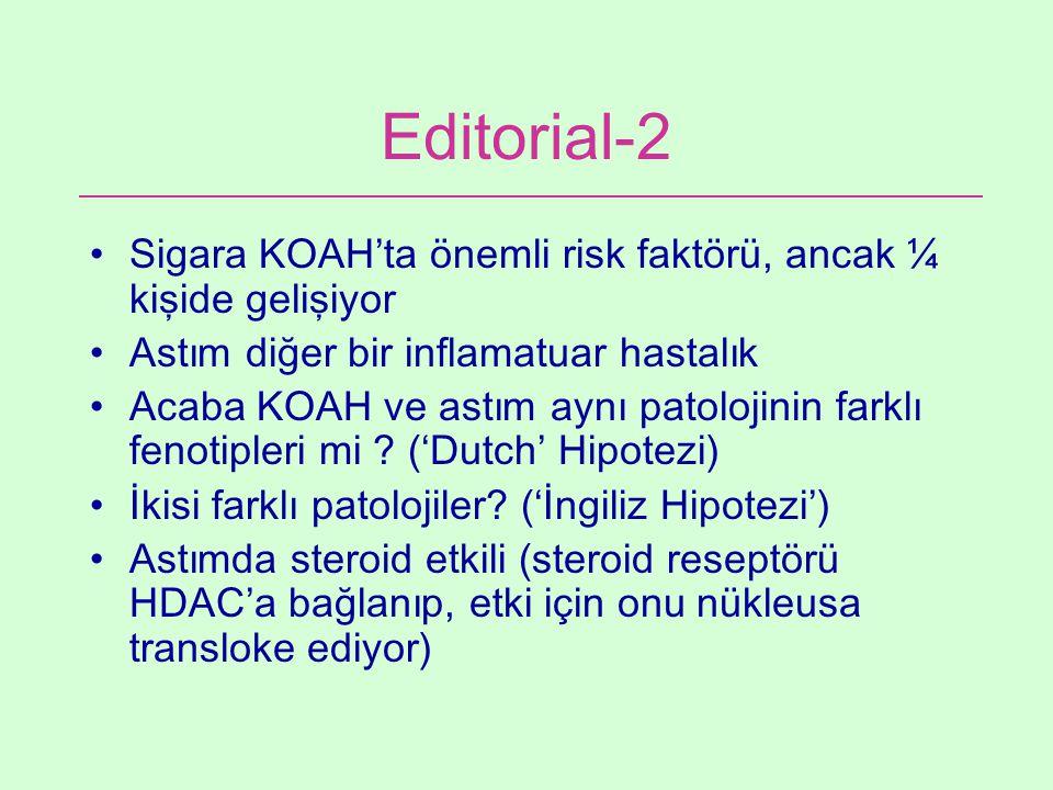 Editorial-2 Sigara KOAH'ta önemli risk faktörü, ancak ¼ kişide gelişiyor Astım diğer bir inflamatuar hastalık Acaba KOAH ve astım aynı patolojinin far