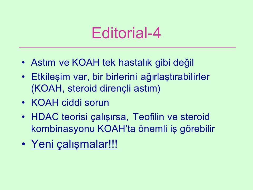 Editorial-4 Astım ve KOAH tek hastalık gibi değil Etkileşim var, bir birlerini ağırlaştırabilirler (KOAH, steroid dirençli astım) KOAH ciddi sorun HDA