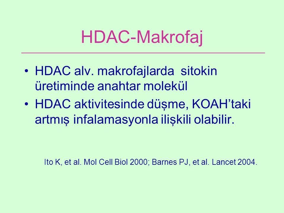 HDAC-Makrofaj HDAC alv. makrofajlarda sitokin üretiminde anahtar molekül HDAC aktivitesinde düşme, KOAH'taki artmış infalamasyonla ilişkili olabilir.