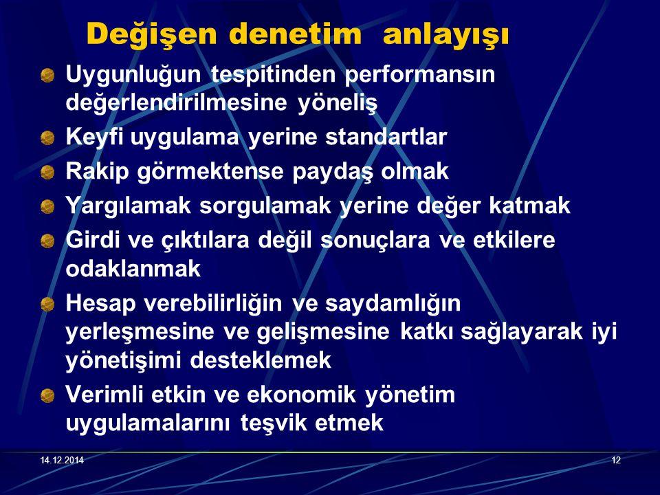 14.12.201412 Değişen denetim anlayışı Uygunluğun tespitinden performansın değerlendirilmesine yöneliş Keyfi uygulama yerine standartlar Rakip görmekte