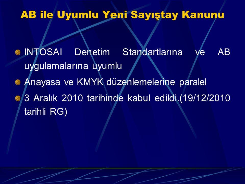 AB ile Uyumlu Yeni Sayıştay Kanunu INTOSAI Denetim Standartlarına ve AB uygulamalarına uyumlu Anayasa ve KMYK düzenlemelerine paralel 3 Aralık 2010 ta