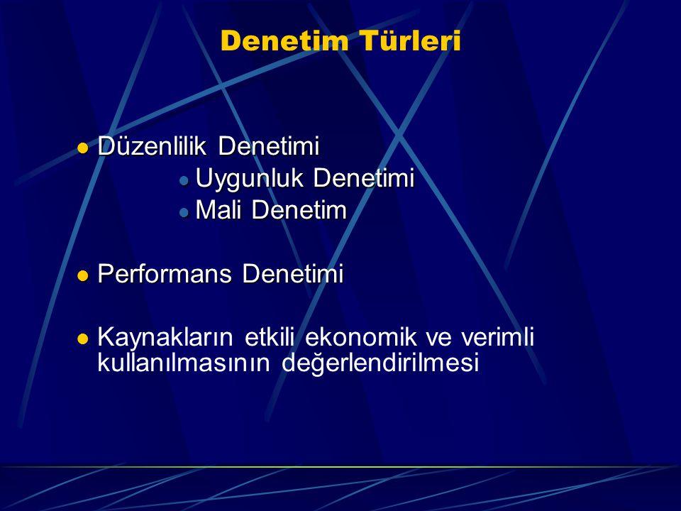 Denetim Türleri Düzenlilik Denetimi Düzenlilik Denetimi Uygunluk Denetimi Uygunluk Denetimi Mali Denetim Mali Denetim Performans Denetimi Performans D