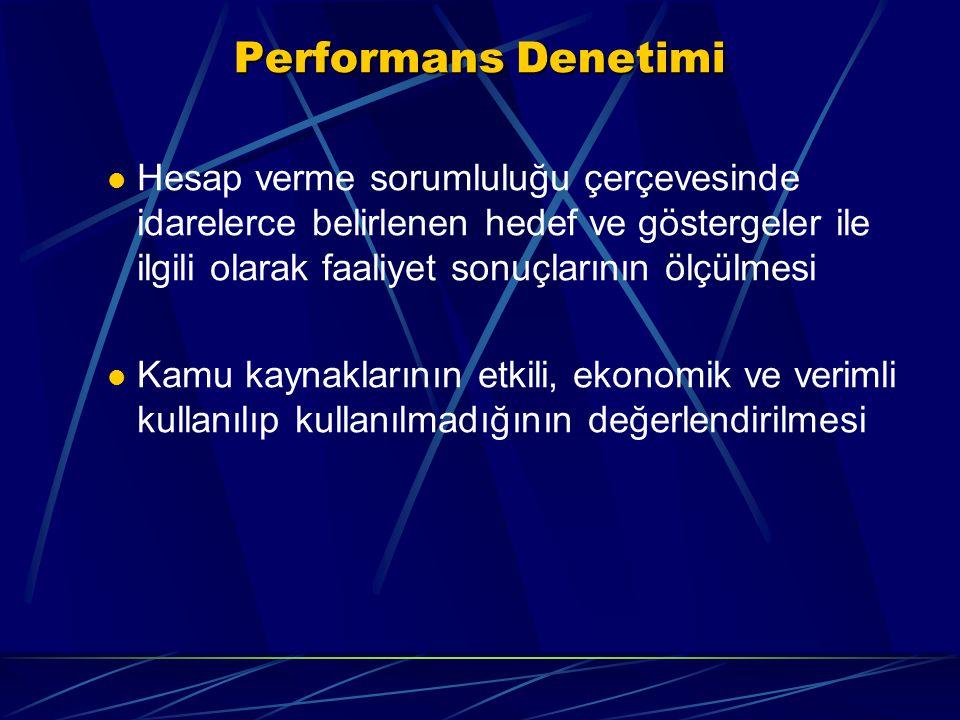 Performans Denetimi Hesap verme sorumluluğu çerçevesinde idarelerce belirlenen hedef ve göstergeler ile ilgili olarak faaliyet sonuçlarının ölçülmesi