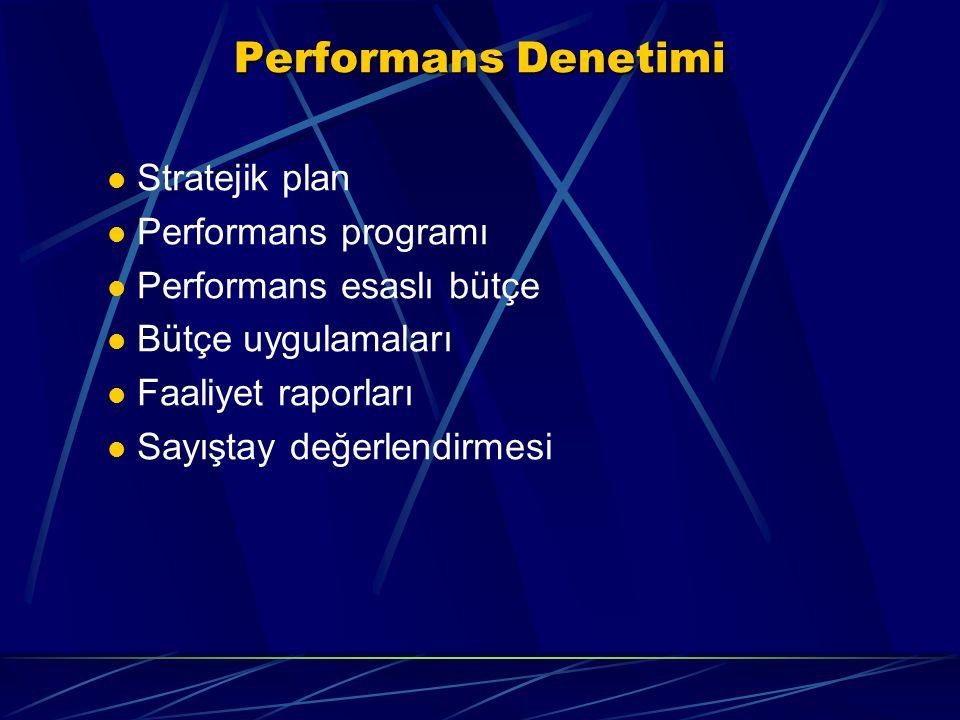 Performans Denetimi Stratejik plan Performans programı Performans esaslı bütçe Bütçe uygulamaları Faaliyet raporları Sayıştay değerlendirmesi
