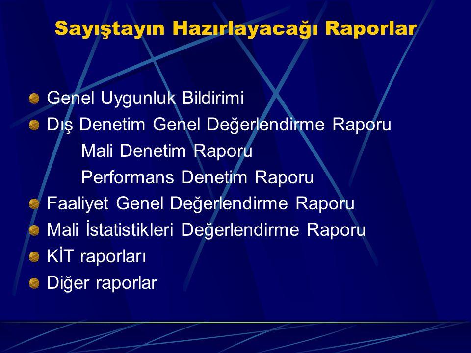 Sayıştayın Hazırlayacağı Raporlar Genel Uygunluk Bildirimi Dış Denetim Genel Değerlendirme Raporu Mali Denetim Raporu Performans Denetim Raporu Faaliy