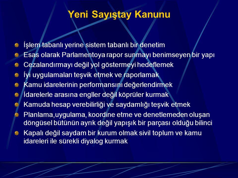 Yeni Sayıştay Kanunu İşlem tabanlı yerine sistem tabanlı bir denetim Esas olarak Parlamentoya rapor sunmayı benimseyen bir yapı Cezalandırmayı değil y