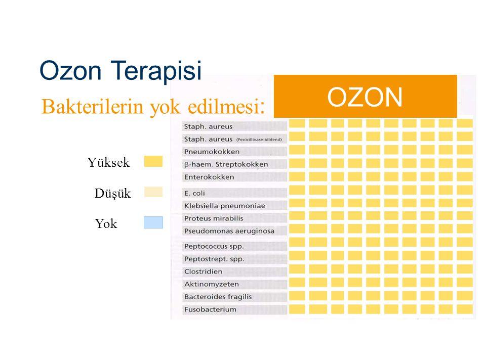 Yüksek Düşük Bakterilerin yok edilmesi : Yok OZON Ozon Terapisi