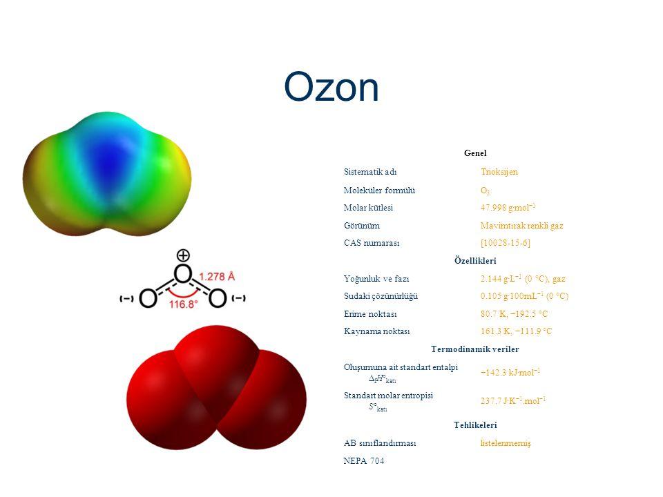 Ozon Genel Sistematik adıTrioksijen Moleküler formülüO3O3 Molar kütlesi47.998 g·mol −1 GörünümMavimtırak renkli gaz CAS numarası[10028-15-6] Özellikle