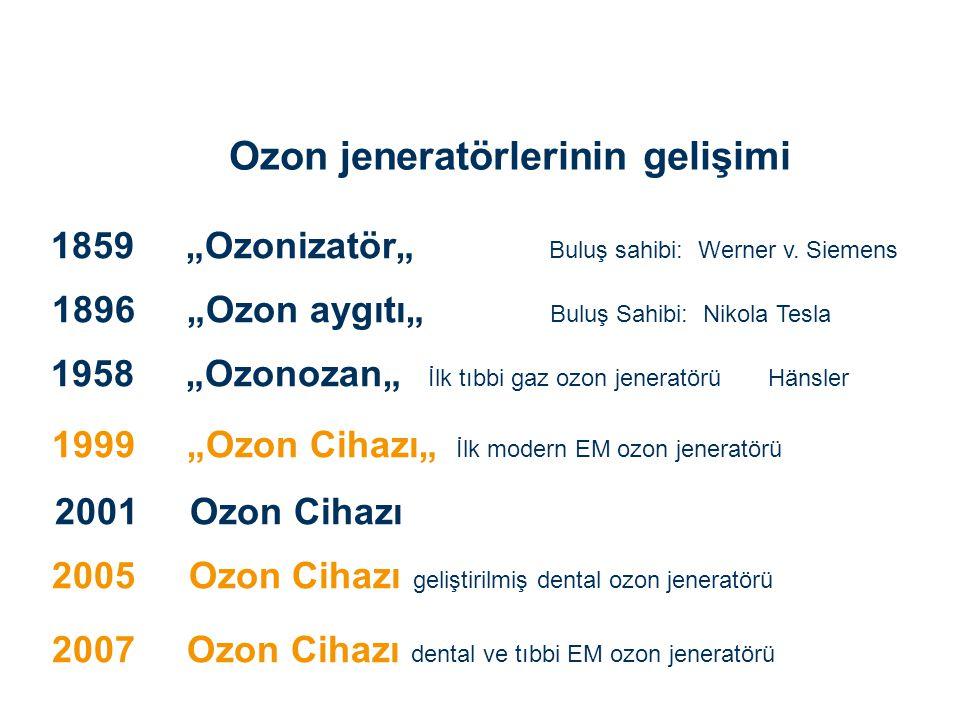 """1859 """"Ozonizatör"""" Buluş sahibi: Werner v. Siemens 1896 """"Ozon aygıtı"""" Buluş Sahibi: Nikola Tesla 1958 """"Ozonozan"""" İlk tıbbi gaz ozon jeneratörü Hänsler"""