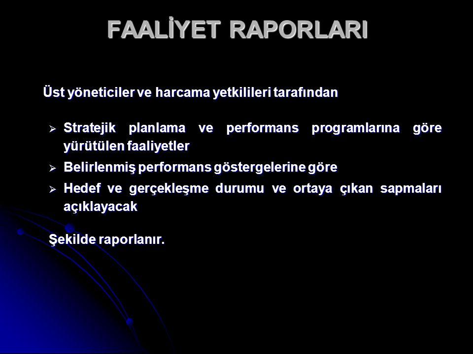 FAALİYET RAPORLARI Üst yöneticiler ve harcama yetkilileri tarafından  Stratejik planlama ve performans programlarına göre yürütülen faaliyetler  Bel
