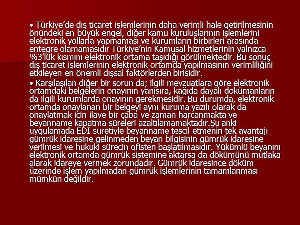 Türkiye'de dış ticaret işlemlerinin daha verimli hale getirilmesinin önündeki en büyük engel, diğer kamu kuruluşlarının işlemlerini elektronik yollarl