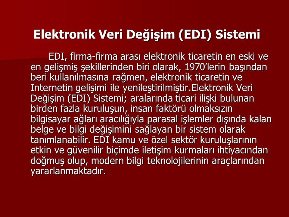 Elektronik Veri Değişim (EDI) Sistemi EDI, firma-firma arası elektronik ticaretin en eski ve en gelişmiş şekillerinden biri olarak, 1970'lerin başında