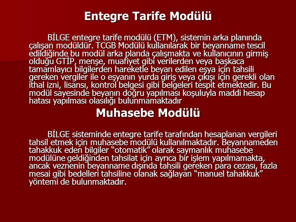 Entegre Tarife Modülü BİLGE entegre tarife modülü (ETM), sistemin arka planında çalışan modüldür. TCGB Modülü kullanılarak bir beyanname tescil edildi