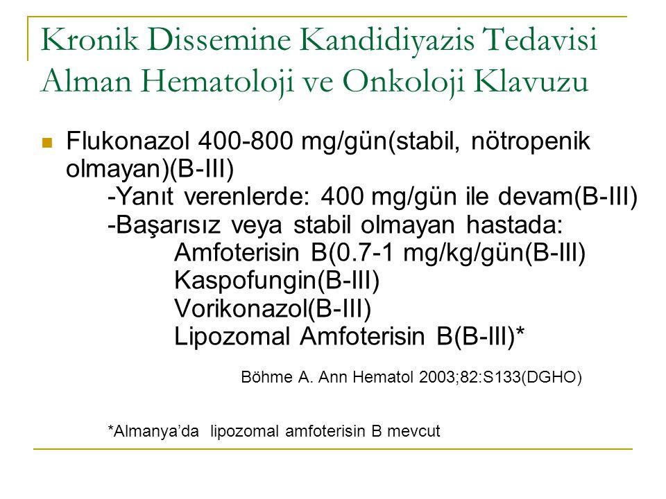 Kronik Dissemine Kandidiyazis Tedavisi Alman Hematoloji ve Onkoloji Klavuzu Flukonazol 400-800 mg/gün(stabil, nötropenik olmayan)(B-III) -Yanıt verenl