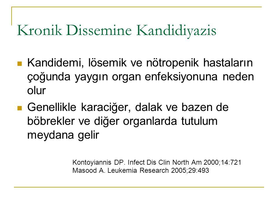 Kronik Dissemine Kandidiyazis Kandidemi, lösemik ve nötropenik hastaların çoğunda yaygın organ enfeksiyonuna neden olur Genellikle karaciğer, dalak ve
