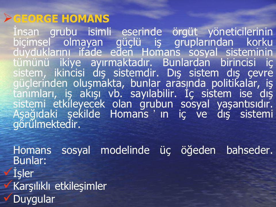   GEORGE HOMANS İnsan grubu isimli eserinde örgüt yöneticilerinin biçimsel olmayan güçlü iş gruplarından korku duyduklarını ifade eden Homans sosyal