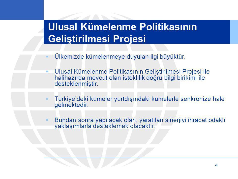 4 Ulusal Kümelenme Politikasının Geliştirilmesi Projesi  Ülkemizde kümelenmeye duyulan ilgi büyüktür.  Ulusal Kümelenme Politikasının Geliştirilmesi