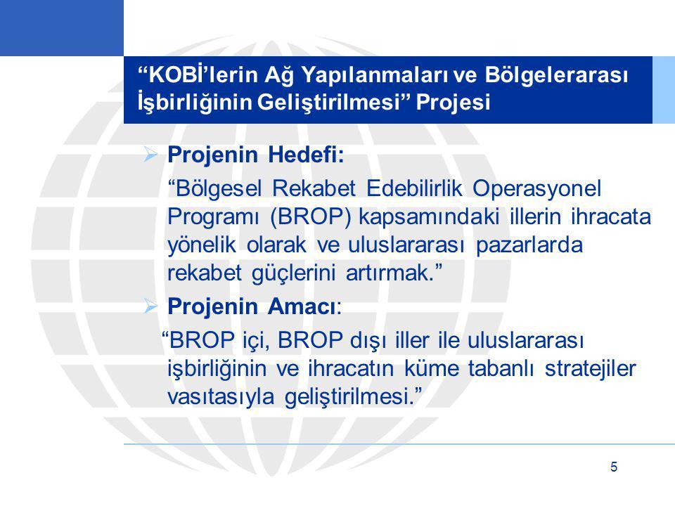"""5 """"KOBİ'lerin Ağ Yapılanmaları ve Bölgelerarası İşbirliğinin Geliştirilmesi"""" Projesi  Projenin Hedefi: """"Bölgesel Rekabet Edebilirlik Operasyonel Prog"""
