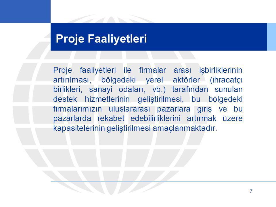 7 Proje Faaliyetleri Proje faaliyetleri ile firmalar arası işbirliklerinin artırılması, bölgedeki yerel aktörler (ihracatçı birlikleri, sanayi odaları