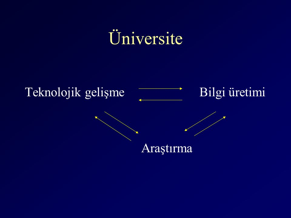 Üniversite Teknolojik gelişmeBilgi üretimi Araştırma