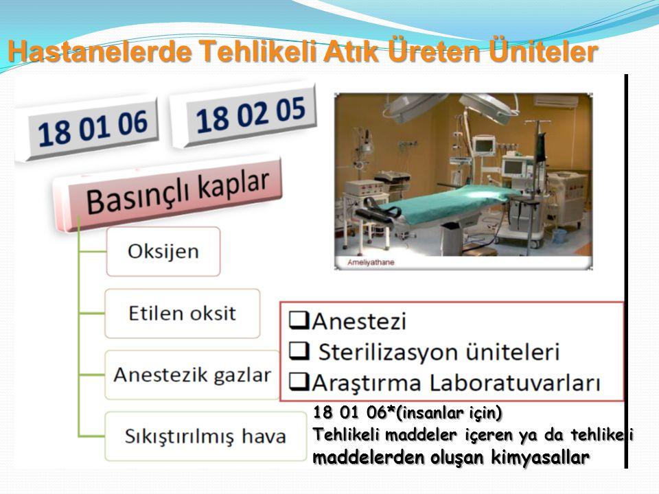 18 01 06*(insanlar için) Tehlikeli maddeler içeren ya da tehlikeli maddelerden oluşan kimyasallar Hastanelerde Tehlikeli Atık Üreten Üniteler
