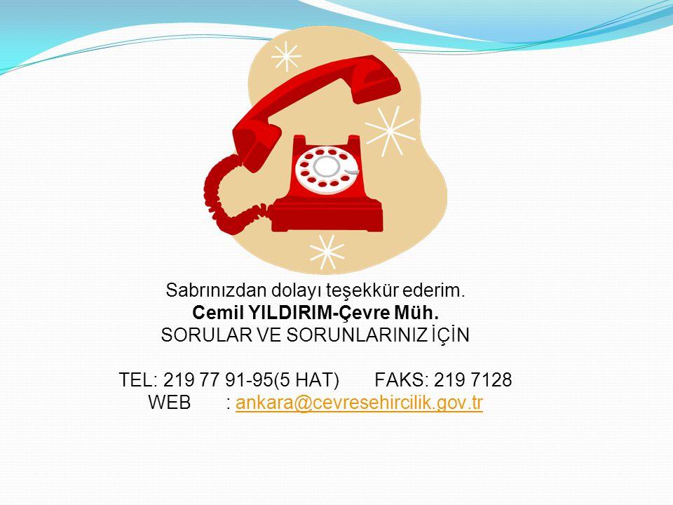 Sabrınızdan dolayı teşekkür ederim. Cemil YILDIRIM-Çevre Müh. SORULAR VE SORUNLARINIZ İÇİN TEL: 219 77 91-95(5 HAT) FAKS: 219 7128 WEB : ankara@cevres
