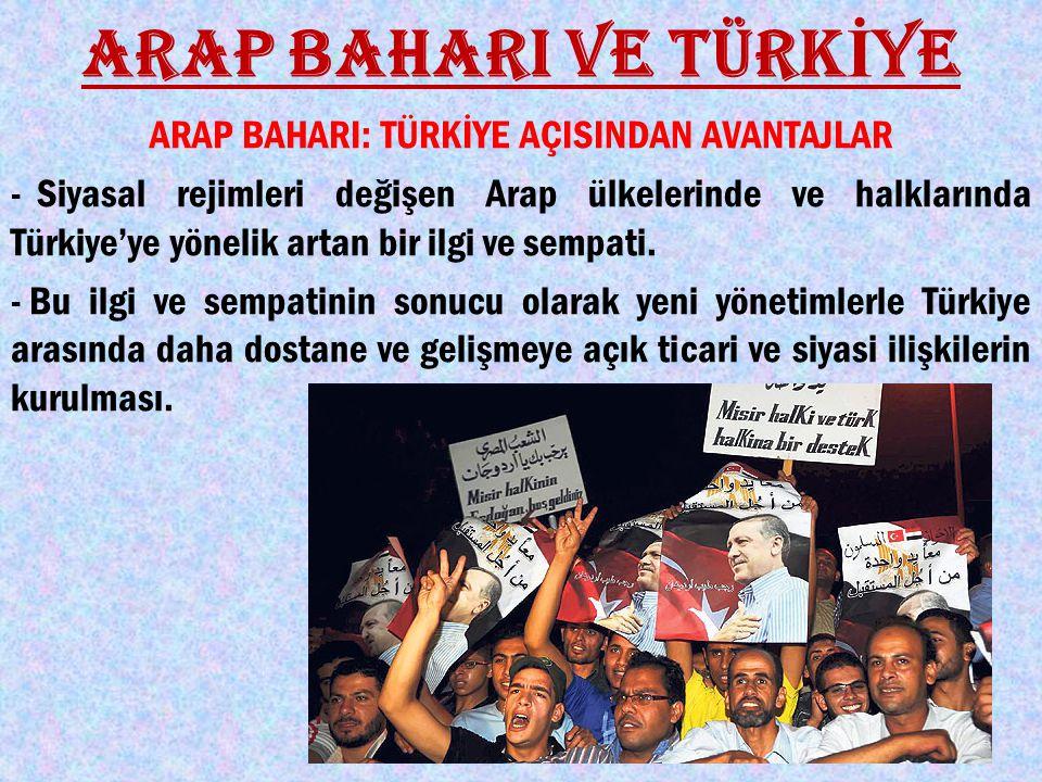 ARAP BAHARI VE TÜRK İ YE ARAP BAHARI: TÜRKİYE AÇISINDAN AVANTAJLAR - Siyasal rejimleri değişen Arap ülkelerinde ve halklarında Türkiye'ye yönelik artan bir ilgi ve sempati.
