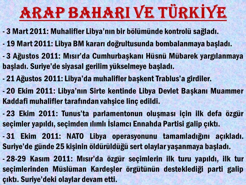 ARAP BAHARI VE TÜRK İ YE - 3 Mart 2011: Muhalifler Libya'nın bir bölümünde kontrolü sağladı.