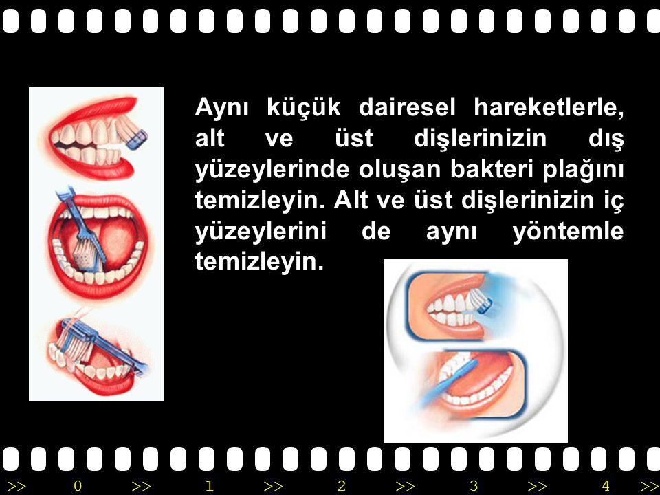 >>0 >>1 >> 2 >> 3 >> 4 >> Fırçanızı 45°' lik bir açı ile diş-dişeti birleşimine yerleştirin.