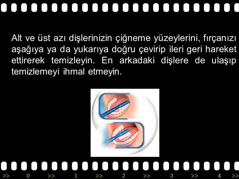 >>0 >>1 >> 2 >> 3 >> 4 >> Ön dişlerinizin arka yüzeylerini de aynı dairesel hareketlerle temizleyin.