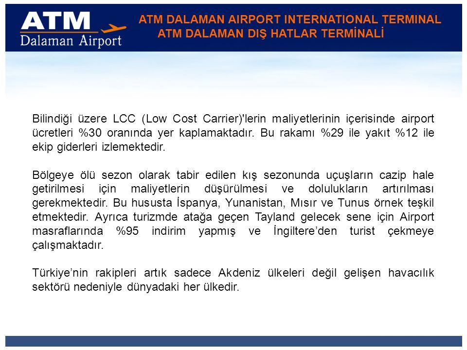 ATM DALAMAN AIRPORT INTERNATIONAL TERMINAL ATM DALAMAN DIŞ HATLAR TERMİNALİ Bilindiği üzere LCC (Low Cost Carrier) lerin maliyetlerinin içerisinde airport ücretleri %30 oranında yer kaplamaktadır.